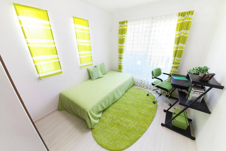 zelená moderní ložnice