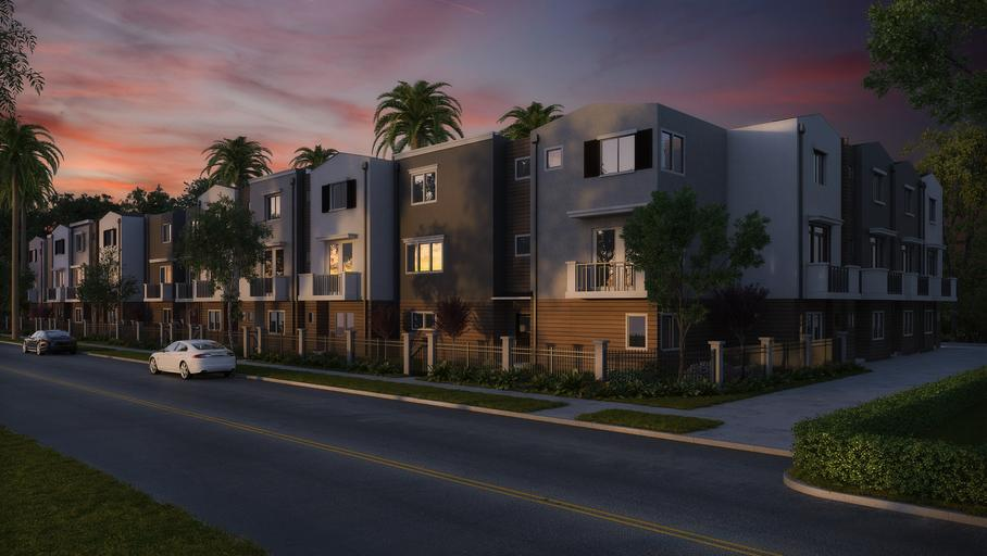 moderní domy u silnice